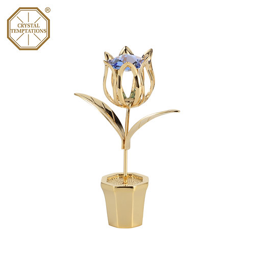 24K Gold Plated Figurine Flowers with Swarovski Crystal