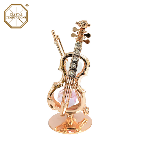 Rose Gold Plated Lacquered Violin with Swarovski Crystal