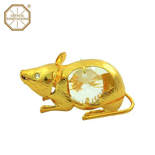 24K Gold Plated Figurine Rat with Swarovski Crystal