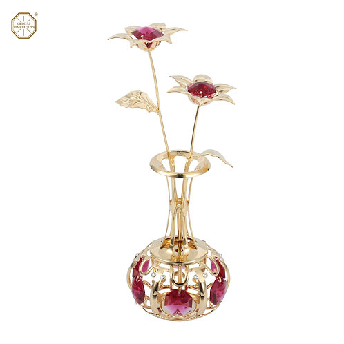 24K Gold plated iron holiday decorating (Vase) with Bordeaux Swarovski crystal