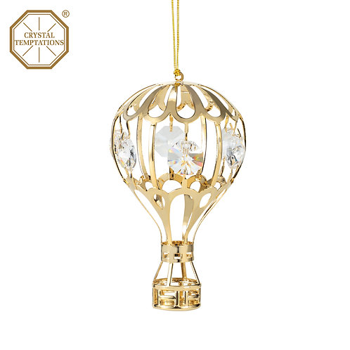 24K gold plated Air Balloon ornament with clear Swarovski crystal