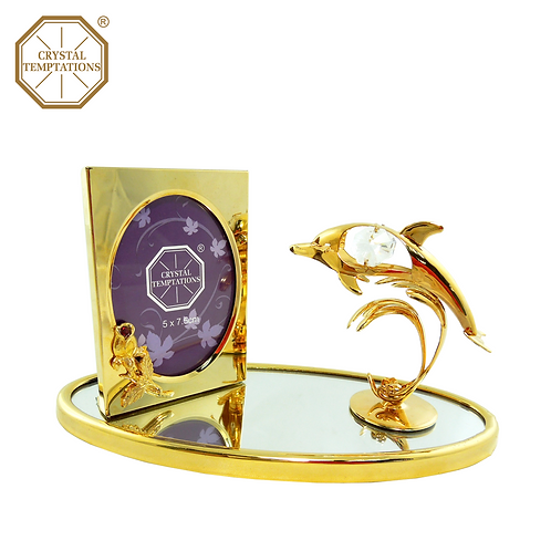 24K Gold & Silver Plated Photo Frame Dolphin with Crystal Celebration