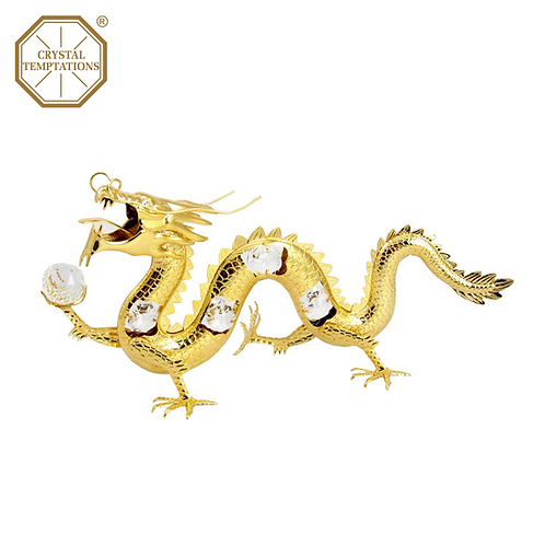 24K Gold Plated Figurine Giant Dragon with Swarovski Crystal