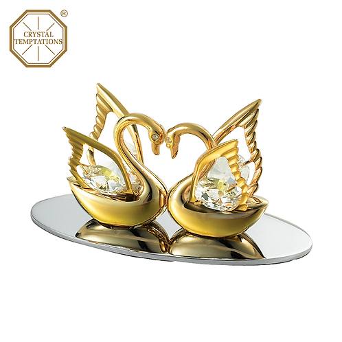 24K Gold Plated Figurine Swan with Swarovski Crystal