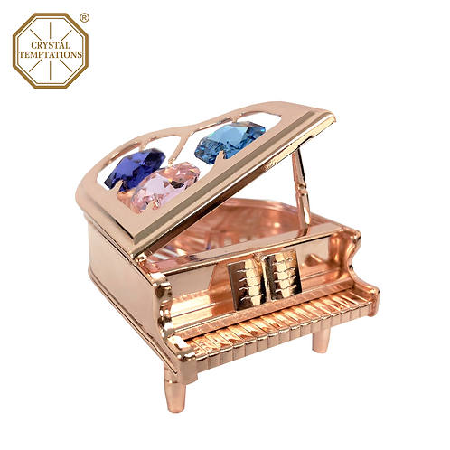 Rose Gold Plated Lacquered Piano with Swarovski Crystal