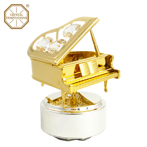 24K Gold Plated Piano with Swarovski Crystal Music Box
