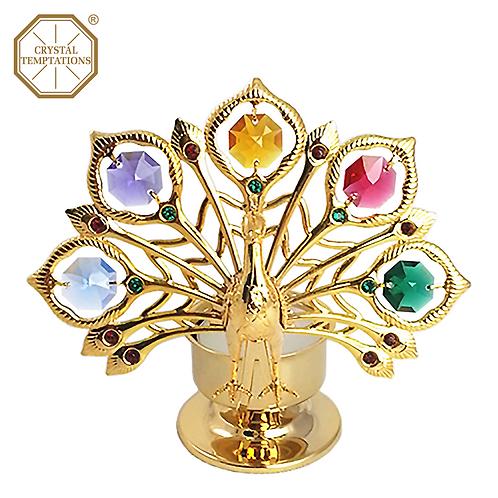 24K Gold Plated Tea Light Peacock Holder with Swarovski Crystal