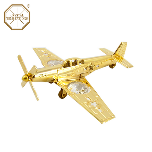 24K Gold Plated Decoration Aircraft with Swarovski Crystal