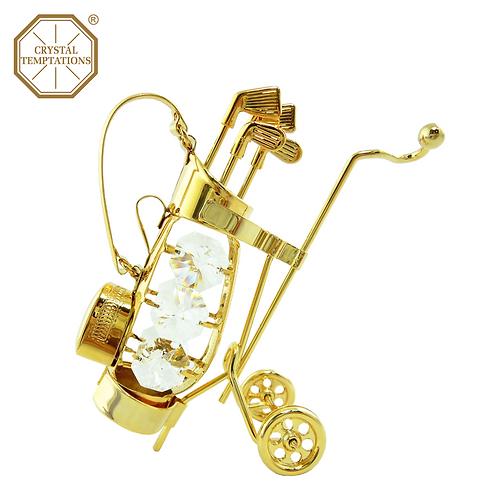 24K Gold Plated Golf Bag with Swarovski Crystal