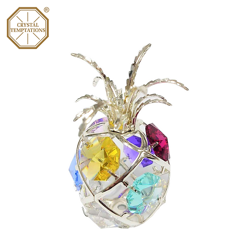 Silver Plated Lacquered Figurine Pineapple with Swarovski Crystal