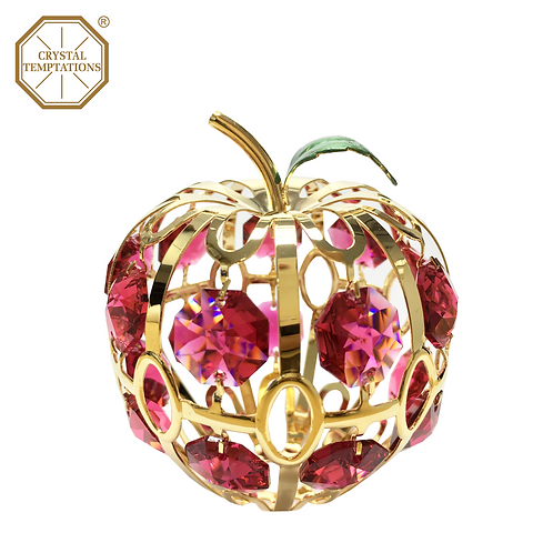 24K Gold Plated Figurine Apple with Swarovski Crystal