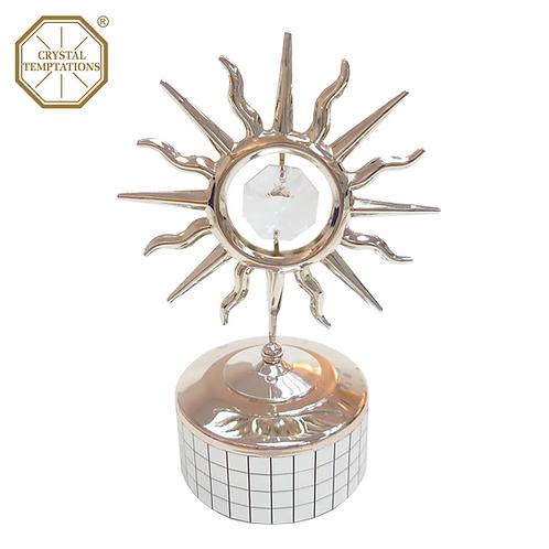 Silver Plated Sun with Swarovski Crystal Music Box