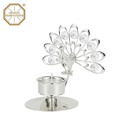Silver Plated Tea Light Holder Peacock with Swarovski CrystalCrystal