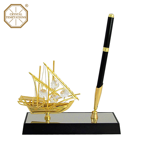 Sailboat with Swarovski Crystal Pen Stand