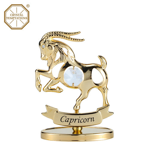 24K Gold Plated Figurine Capricorn with Swarovski Crystal