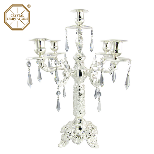 Silver Plated Lacquered Candle Holder with Swarovski Crystal