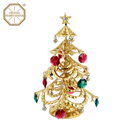 24K Gold Plated Christmas Tree with Swarovski Crystal