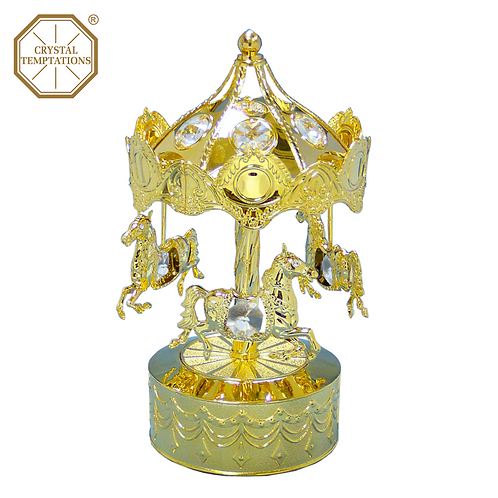24K Gold Plated Carousel with Swarovski Crystal Music Box