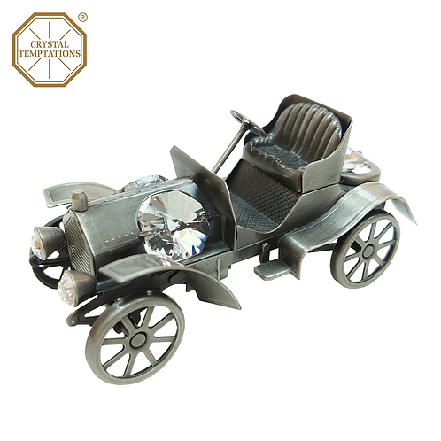 Pewter Plated Decoration 1910s Race Car with Swarovski Crystal