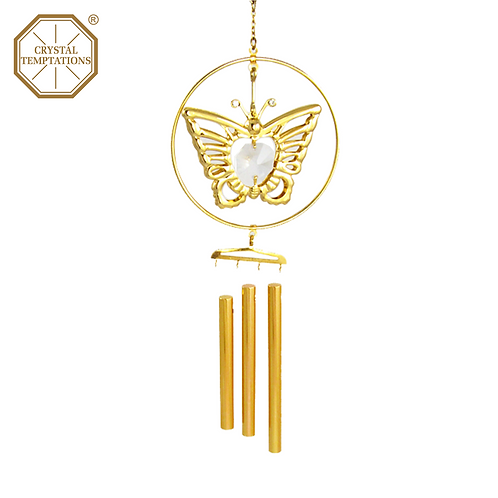 24K Gold Plated Butterfly with Swarovski Crystal Wind Chimes