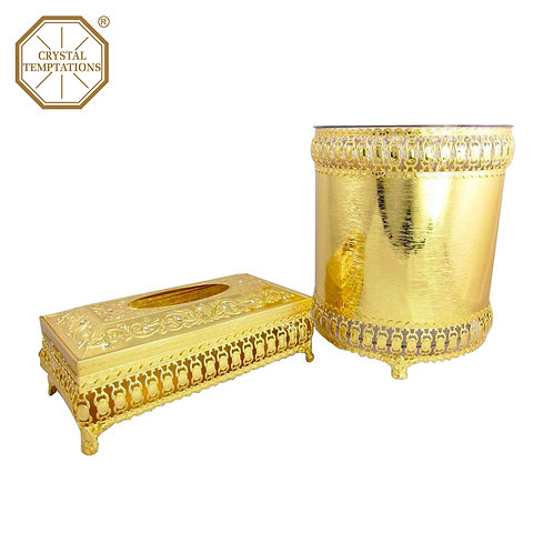 Gold Plated Kitchenware Tissue Box & Bin Set with Swarovski Crystal