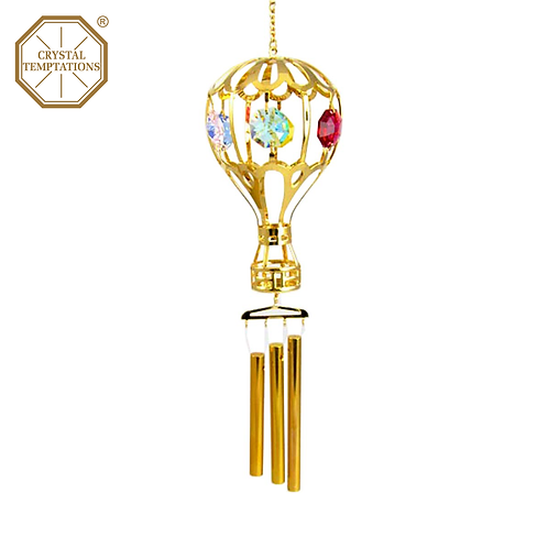 24K Gold Plated Hot Air Balloon with Swarovski Crystal Wind Chimes