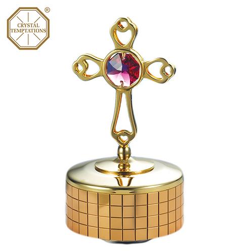 24K Gold Plated Cross with Swarovski Crystal Music Box