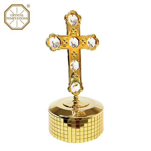 24K Gold Plated Cross with Swarovski Crystal Music Box