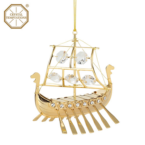 24K gold plated Sailboatornament with clear Swarovski crystal