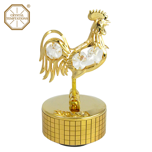 24K Gold Plated Easter Rooster with Swarovski Crystal Music Box