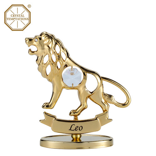 24K Gold Plated Figurine Leo with Swarovski Crystal