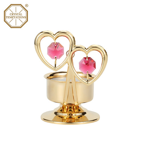 24K Gold Plated Tea Light Holder Double Heart with Swarovski Crystal