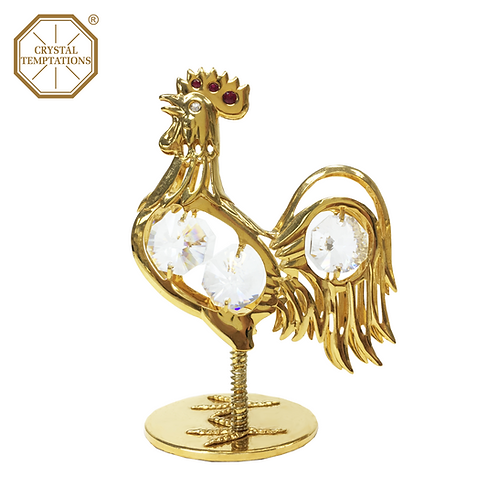 24K Gold Plated Figurine Rooster with Swarovski Crystal