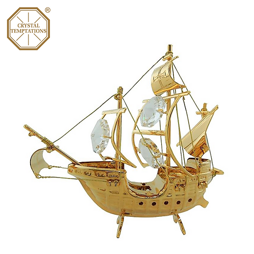 24K Gold Plated Decoration Pirate Ship with Swarovski Crystal