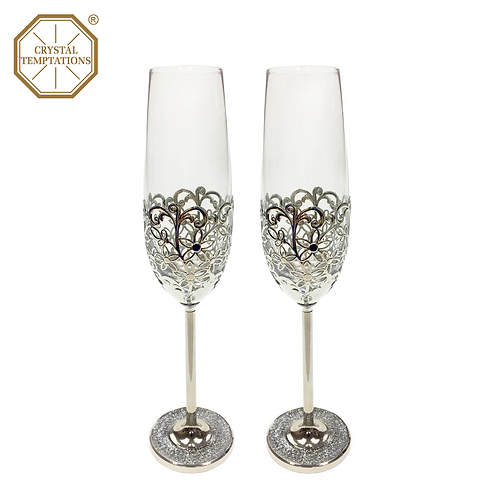 Silver Plated Celebration Wedding Champagne Glass