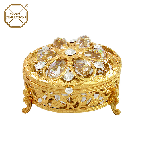 24K Gold Plated Jewellery Box with Swarovski Crystal
