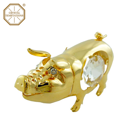 24K Gold Plated Figurine Pig with Swarovski Crystal