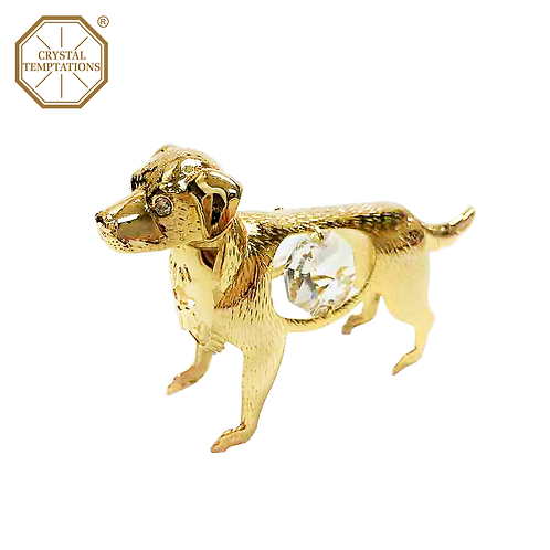24K Gold Plated Figurine Dog with Swarovski Crystal