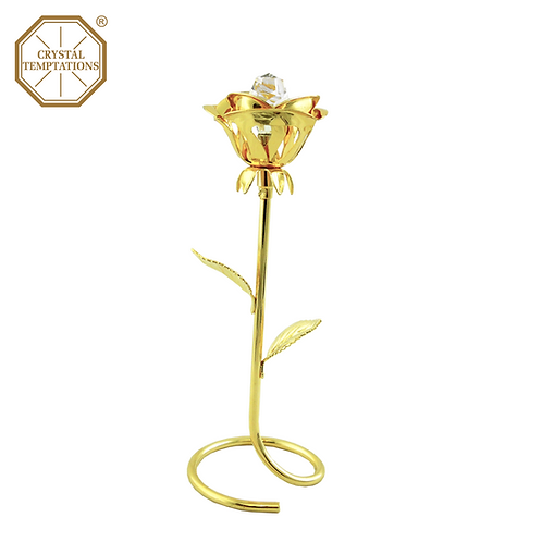 24K Gold Plated Figurine Rose with Swarovski Crystal
