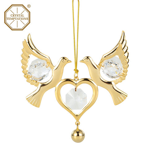 24K gold plated Love Birds with heart ornament with clear Swarovski crystal