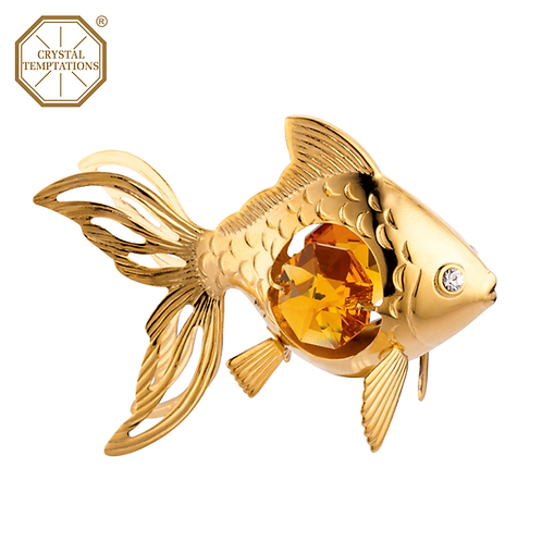 24K Gold Plated Figurine Fish with Swarovski Crystal