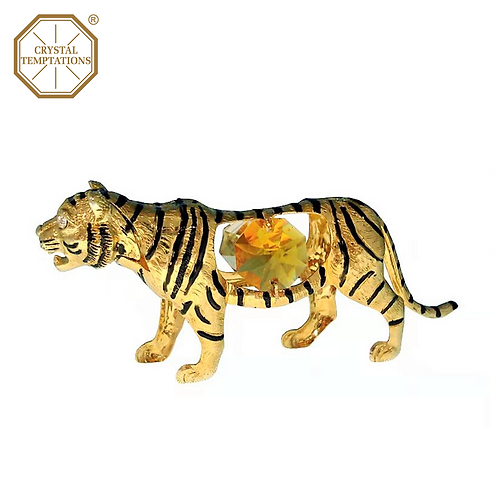 24K Gold Plated Figurine Tiger with Swarovski Crystal