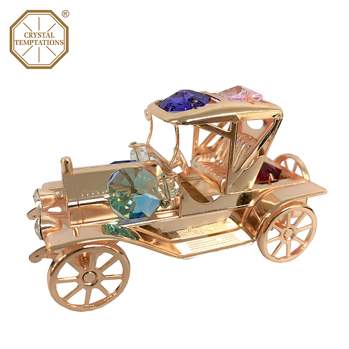 Rose Gold Plated Decoration 1910s Jalopy with Swarovski Crystal