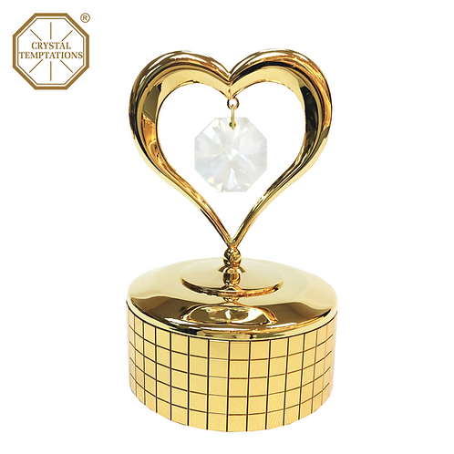 24K Gold Plated Heart with Swarovski Crystal Music Box