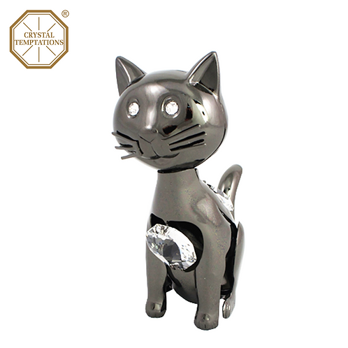 Blackish Plated Lacquered Figurine Cat with Swarovski Crystal