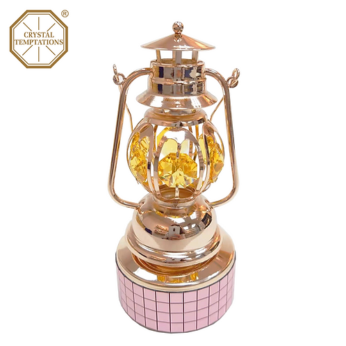Rose Gold Plated Oil Lamp with Swarovski Crystal Music Box