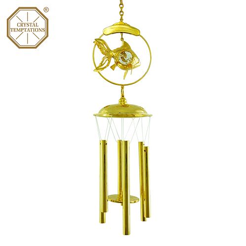 24K Gold Plated Fish with Swarovski Crystal Wind Chimes