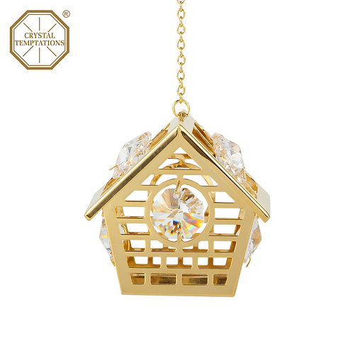 24K gold plated Housewith clear Swarovski crystal