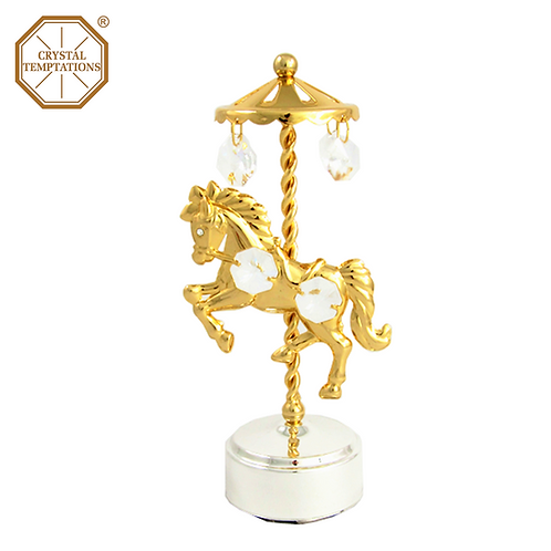 24K Gold Plated Baby Horse with Swarovski Crystal Music Box