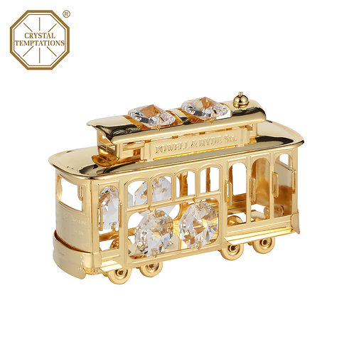 24K Gold Plated San Francisco Cable Carwith Swarovski Crystal